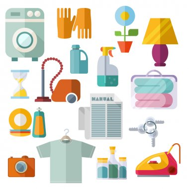 Housekeeping Theme Flat Icons On White Background