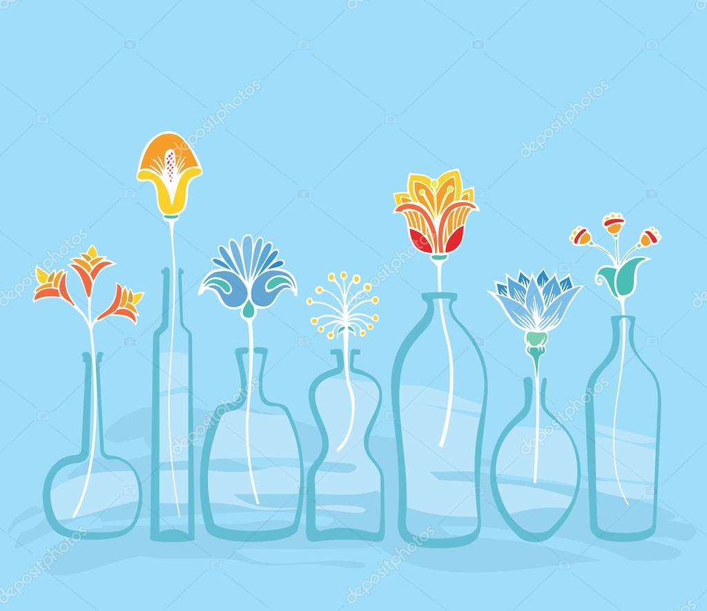 Abstract Bright Flowers And Bottles Background