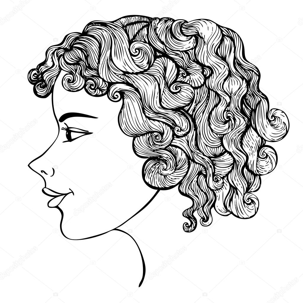Girl With Curly Hair Ink Drawing Stock Vector C Ksanask 87395810