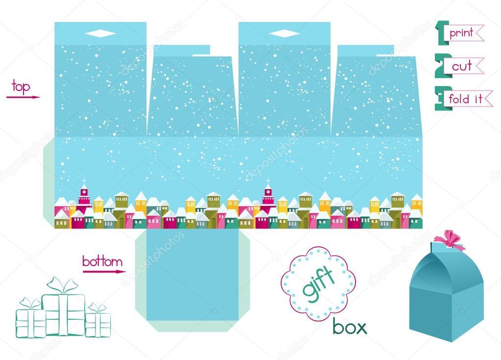 Caixa De Presente Para Impressão Com Colorida Cidade Sob Neve