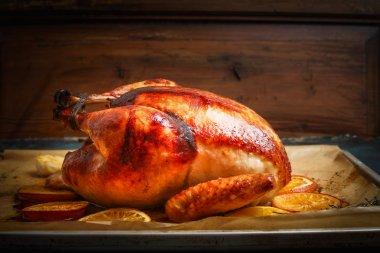 Roast whole turkey or chicken in plate