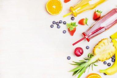 Various smoothies with ingredients