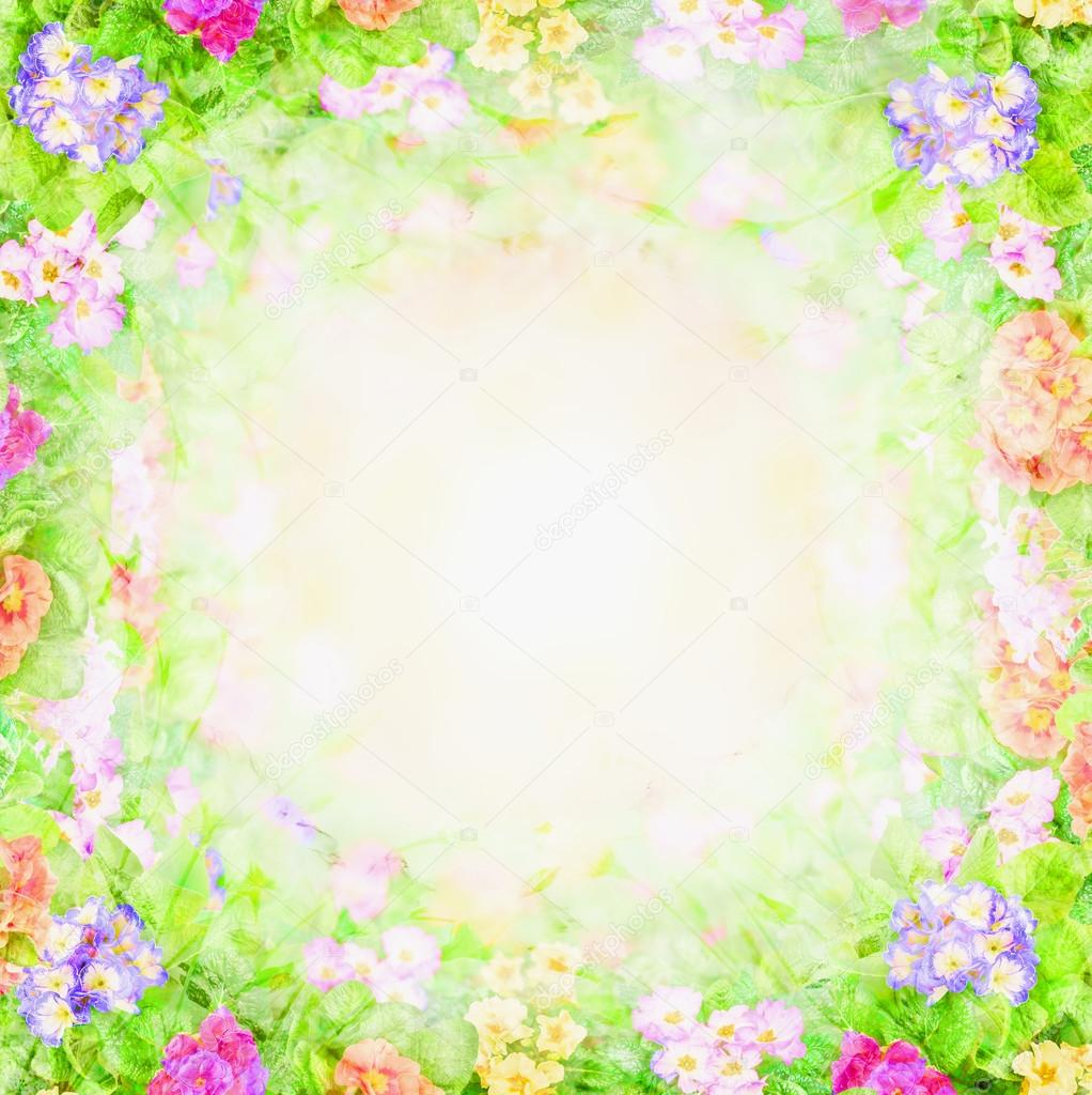 Green pink blurry floral background, flowers frame