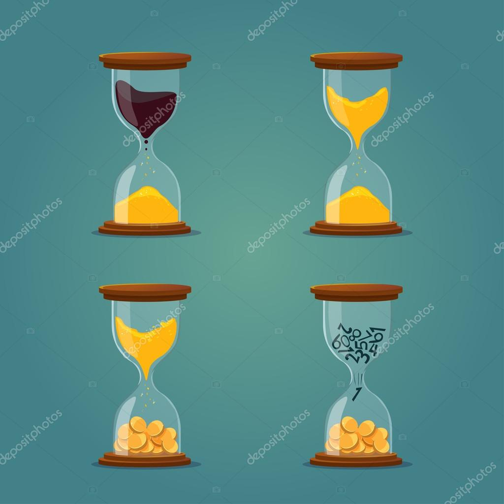 hourglass with sand, oil, coins. business illustration