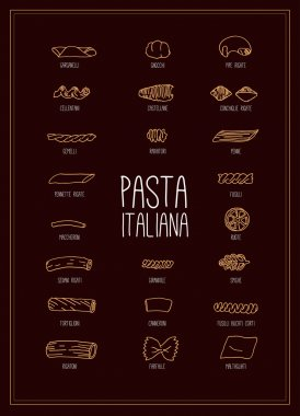 poster with Italian pasta set
