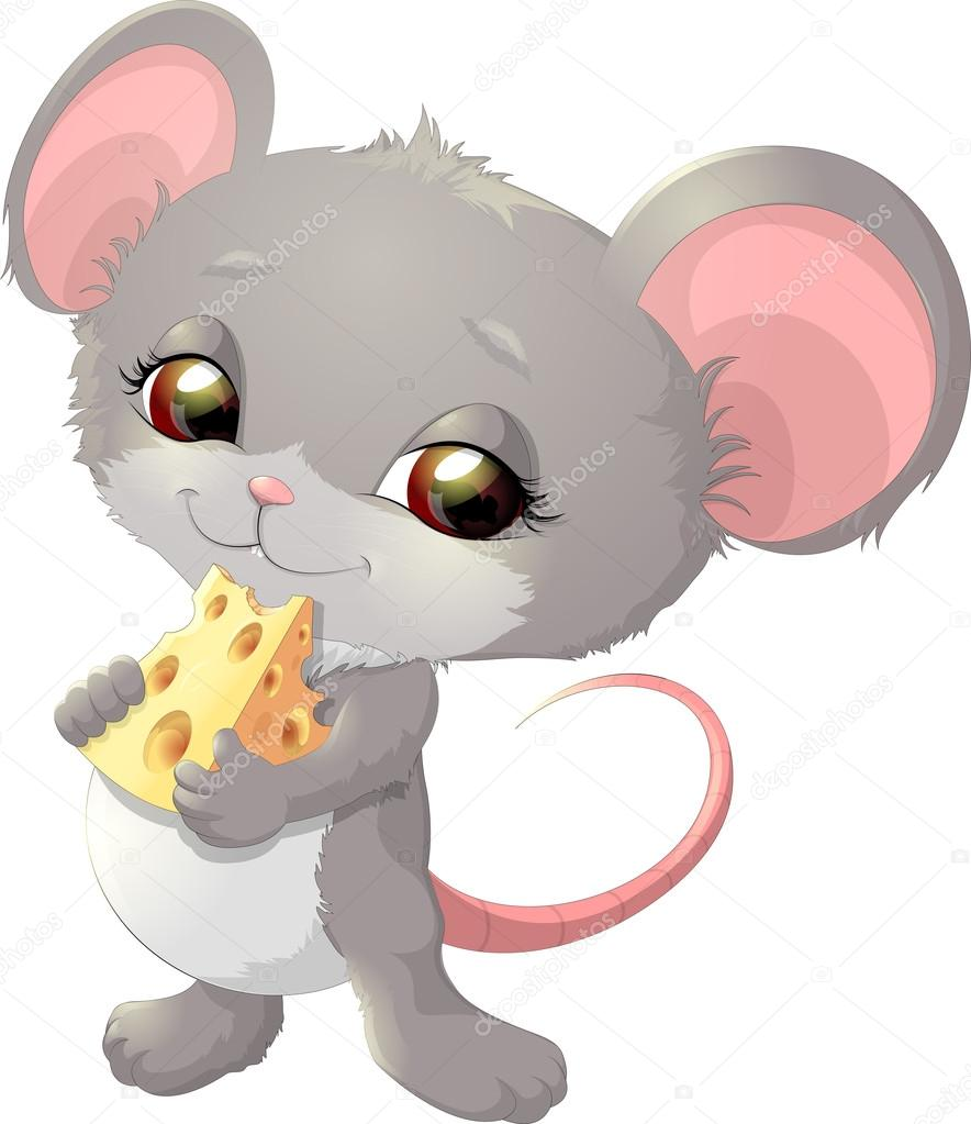 Süße Maus Holding Käse Stockvektor Andryuha19811 114863098