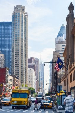 NEW YORK, CIRCA 2014 - streets, architecture and buildings at downtown New York City
