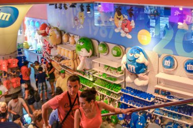NEW YORK - CIRCA 2011. Indoors decorations inside the M and M World on a Times Square New York