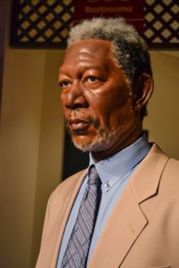Wax portrait of Morgan Freeman at Madame Tussaud's museum in New York