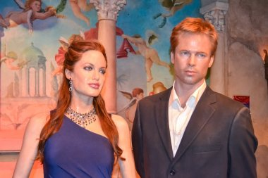 Angelina Jolie and Brad Pitt wax figures in Madame Tussaud's museum in New York