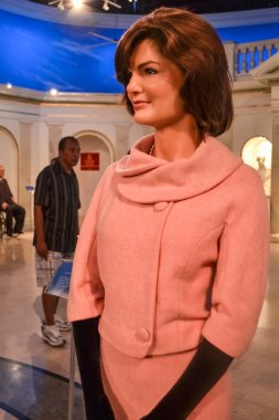 NEW YORK, CIRCA 2011 - Jacqueline Kennedy in chick pink suite at Madame Tussaud's museum in New York