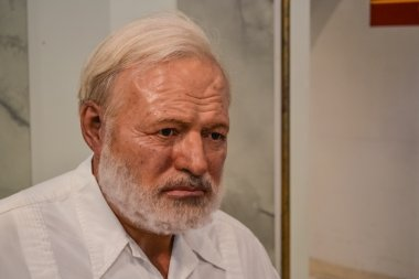 Wax portrait of Ernest Hemingway at Madame Tussaud's museum in New York