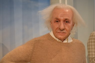 Wax portrait of Albert Einstein at Madame Tussaud's museum in New York