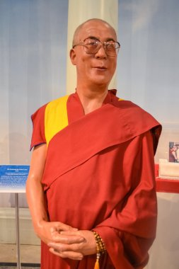 Wax portrait of Dalai Lama at Madame Tussaud's museum in New York