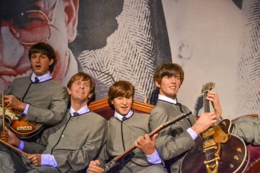NEW YORK, CIRCA 2011 - The Beatles band's wax figures in Madame Tussaud's museum in New York