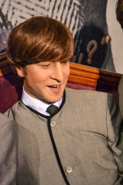 NEW YORK, CIRCA 2011 - Young John Lennon's wax figure in Madame Tussaud's museum in New York