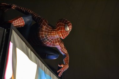 NEW YORK, CIRCA 2011 - Spider-man wax figure in Madame Tussaud's museum in New York