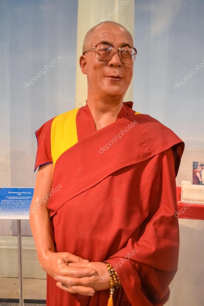Wax portrait of Dalai Lama at Madame Tussaud's museum in New York