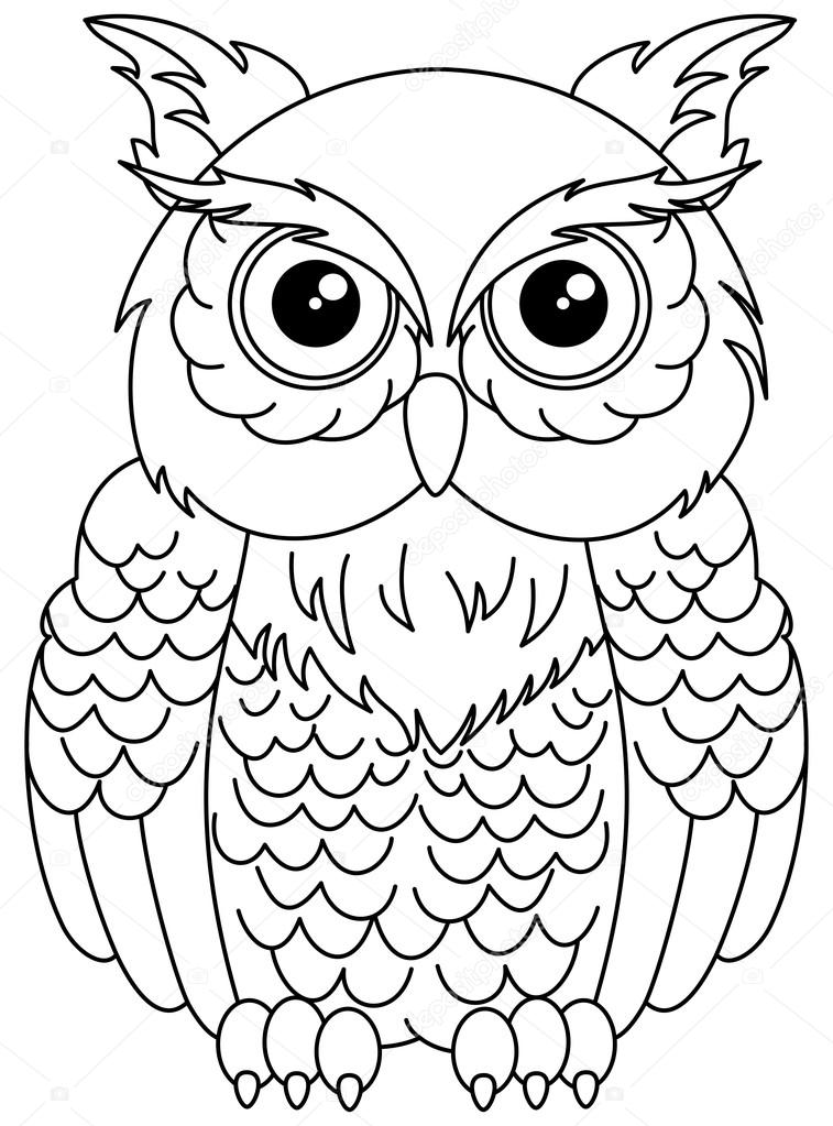 Fotos: buhos para dibujar | búhos para colorear — Vector de stock ...