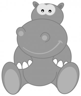 A grey hippo sitting smiling