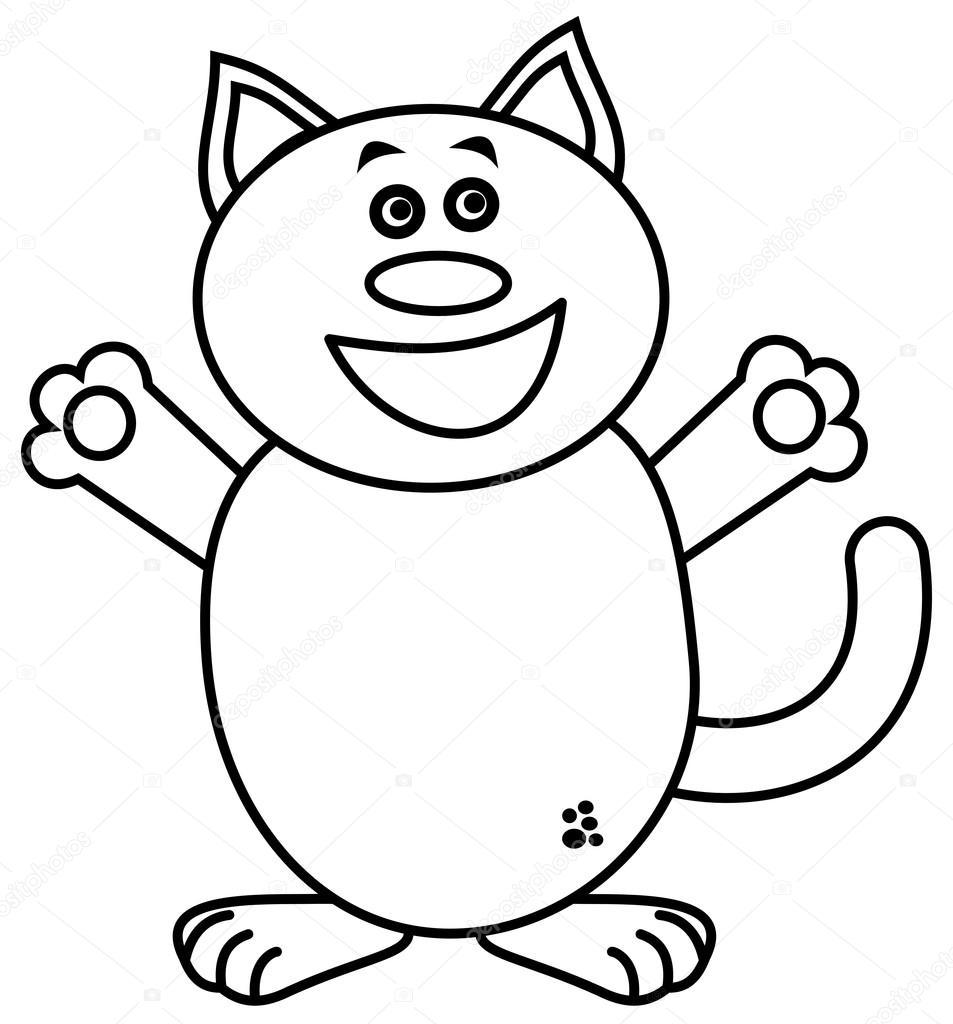 Dibujos Silueta De Un Gato Para Colorear Un Gato Muy Feliz Para