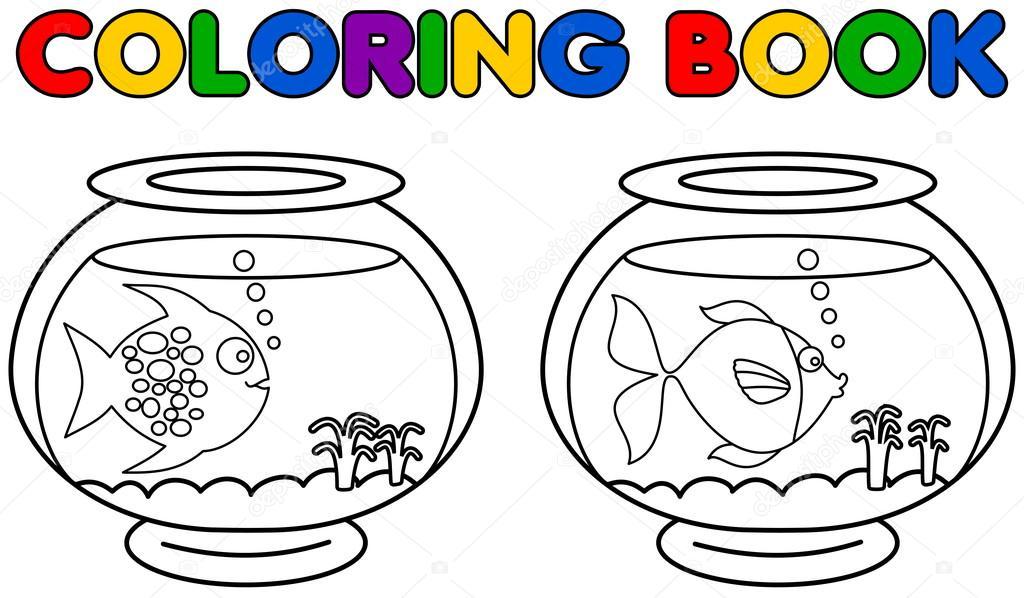 Dos acuarios con peces para colorear — Vector de stock © hurgem ...