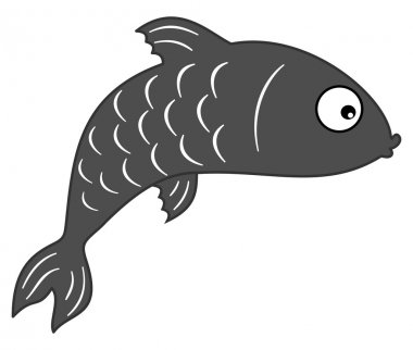 Fish grey shadow stock vector