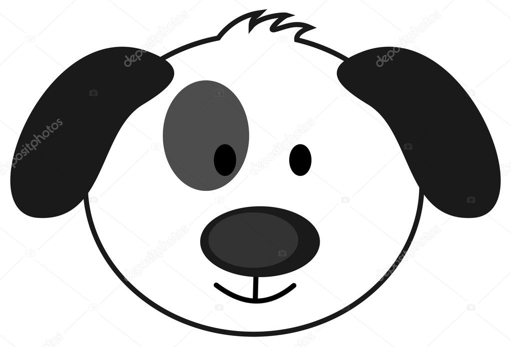 Dog Head Clipart Black And White