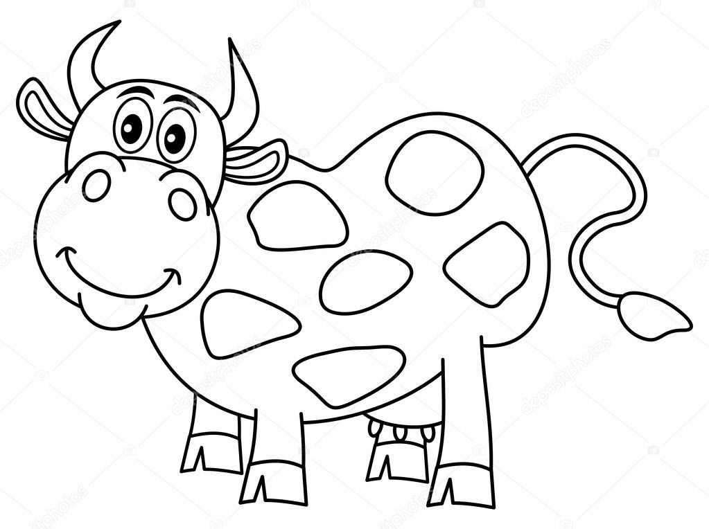Smiling Huge Cow For Coloring Stock Vector C Hurgem 72642249