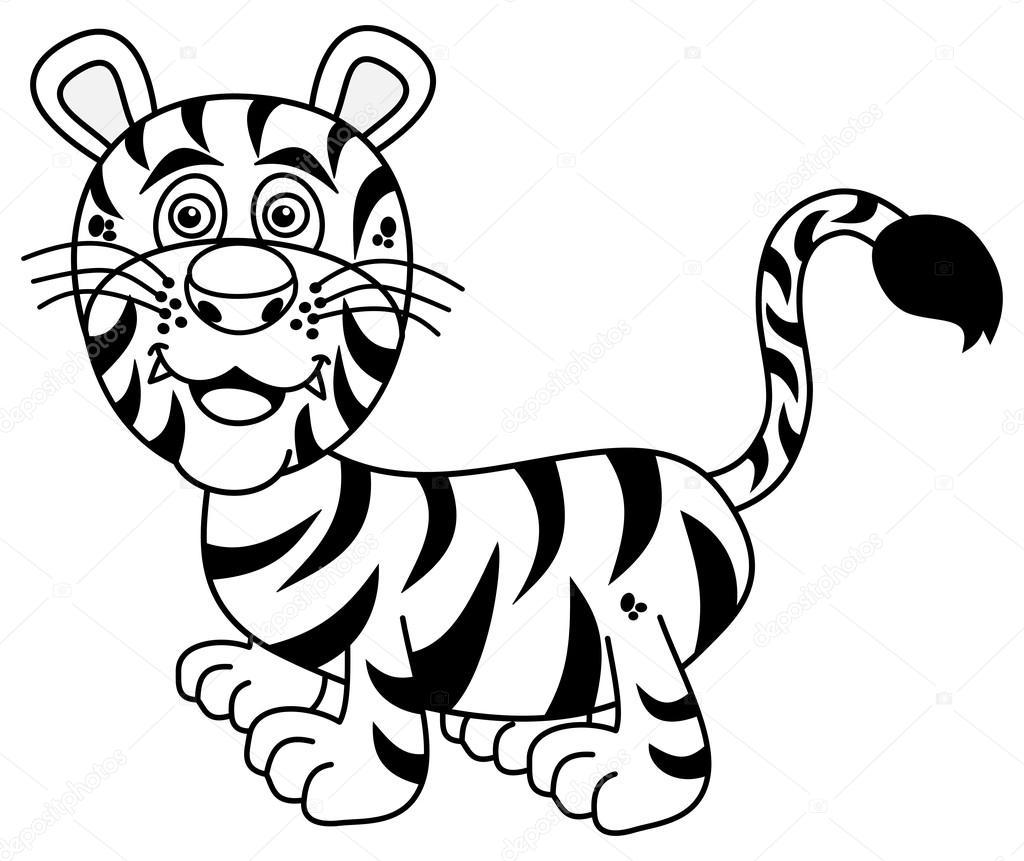 Junge Tiger Lächelnd Zum Ausmalen Stockvektor Hurgem 78808372