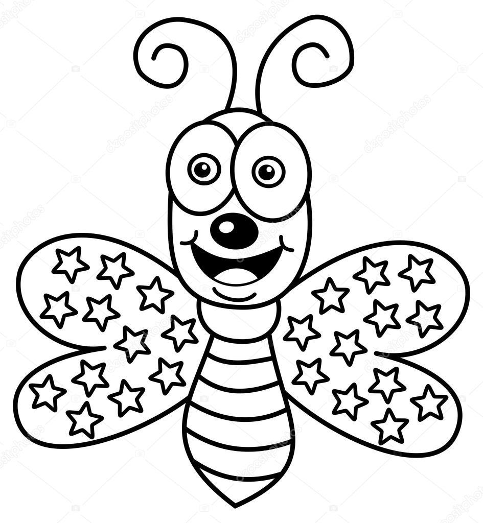 feliz mariposa volando para colorear — Archivo Imágenes Vectoriales ...