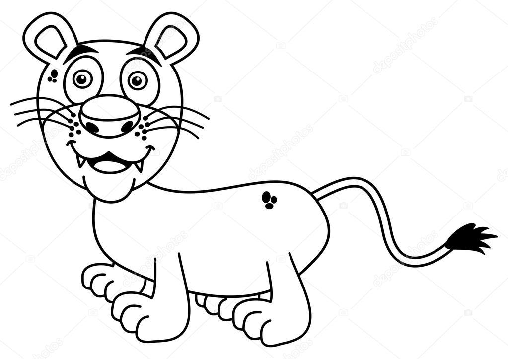 León joven sonriendo para colorear — Vector de stock © hurgem #78809430