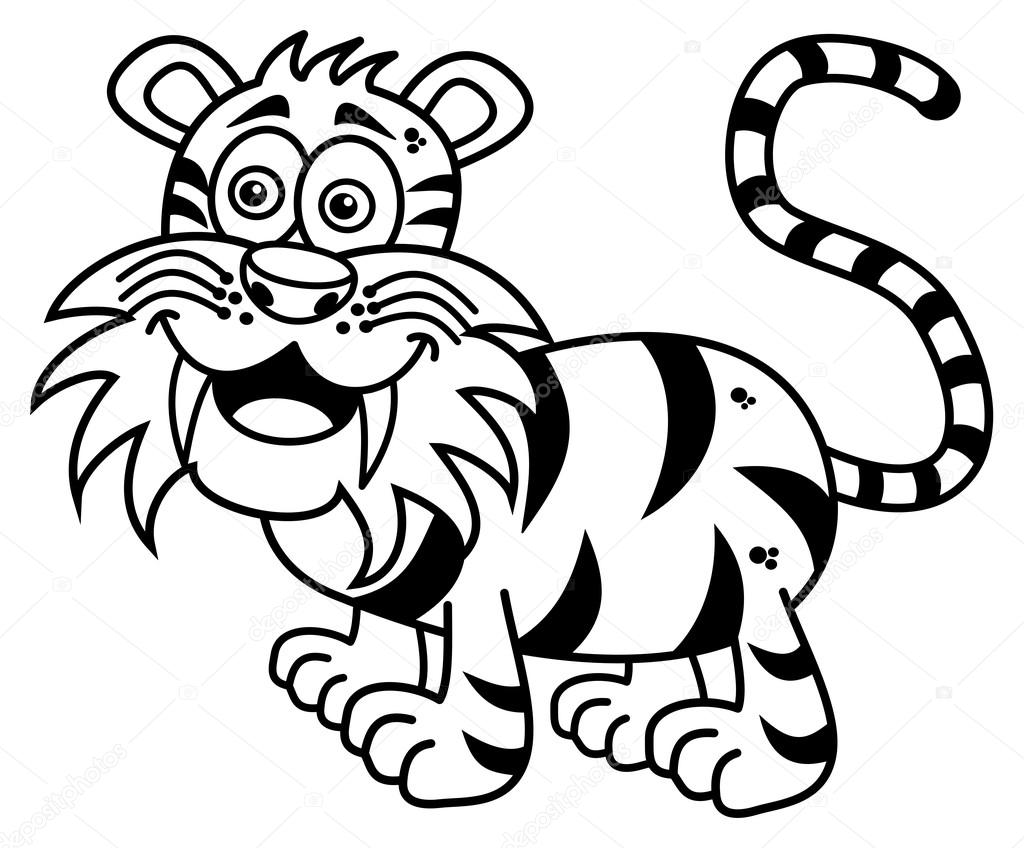 un tigre sonriente para colorear — Vector de stock © hurgem #80135856