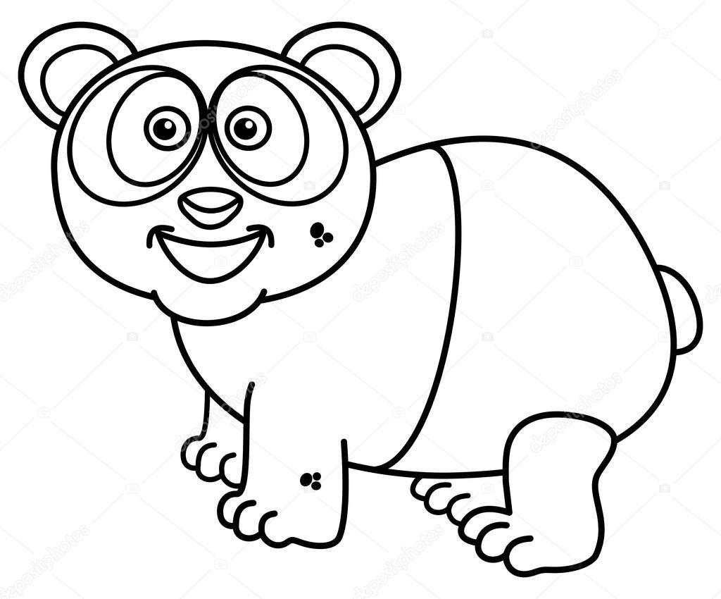 un panda sonriente para colorear — Archivo Imágenes Vectoriales ...