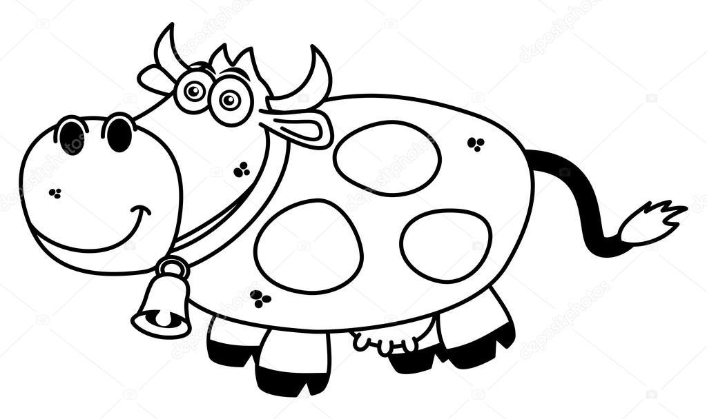 una vaca sonriente para colorear — Archivo Imágenes Vectoriales ...