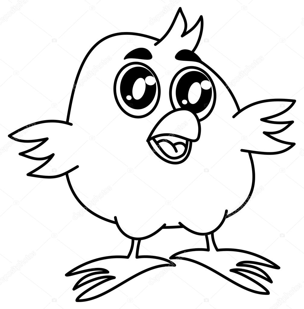 Small Bird Smiling For Coloring Stock Vector C Hurgem 83312050