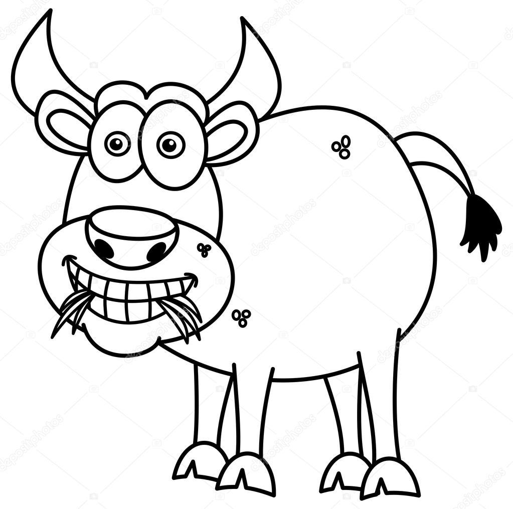 Toro que come pasto para colorear — Vector de stock © hurgem #83312166