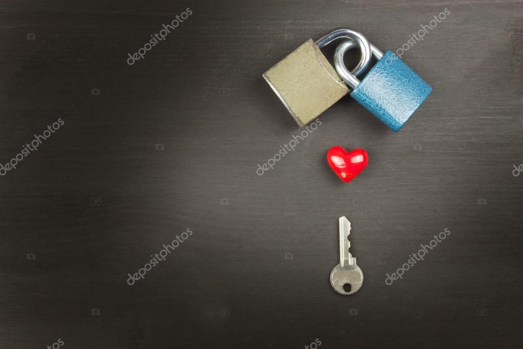 Locks And Keys On A Wooden Table New Symbol Of Love And Happiness