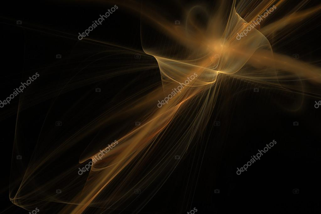 Abstract Black Blue And Gold Fractal Fractal Art
