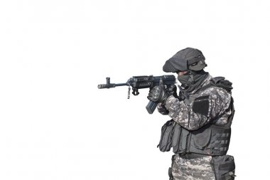 Fight against terrorism, Special Forces soldier, with assault rifle sa.vz.58 police swat, isolated on white