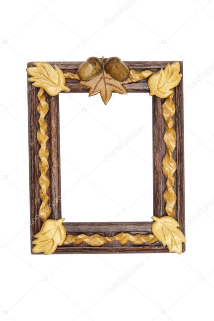 Pintar marco de madera con adorno de hojas de roble y bellotas ...