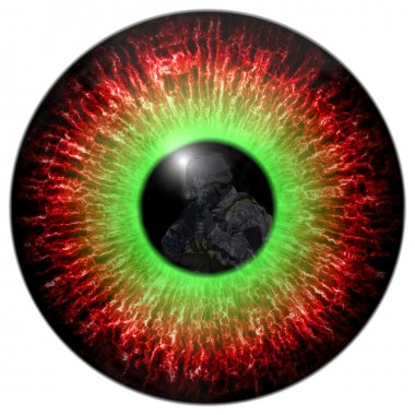 Killer zombies. zombie eyes with the reflection headed soldier. Eyes killer. Deadly eye contact. Animal eye with contrast colored iris, detail view into eye.