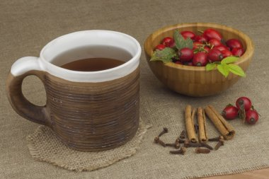 A flu epidemic. Traditional home treatment for colds and flu. Rosehip tea, honey and citrus. Hot tea with honey and lemon on a tabletop. Home Pharmacy. Proven treatment of diseases.