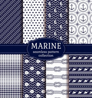 Set of marine and nautical backgrounds in navy blue and white colors. Sea theme. Elagant seamless patterns collection. Vector illustration. stock vector