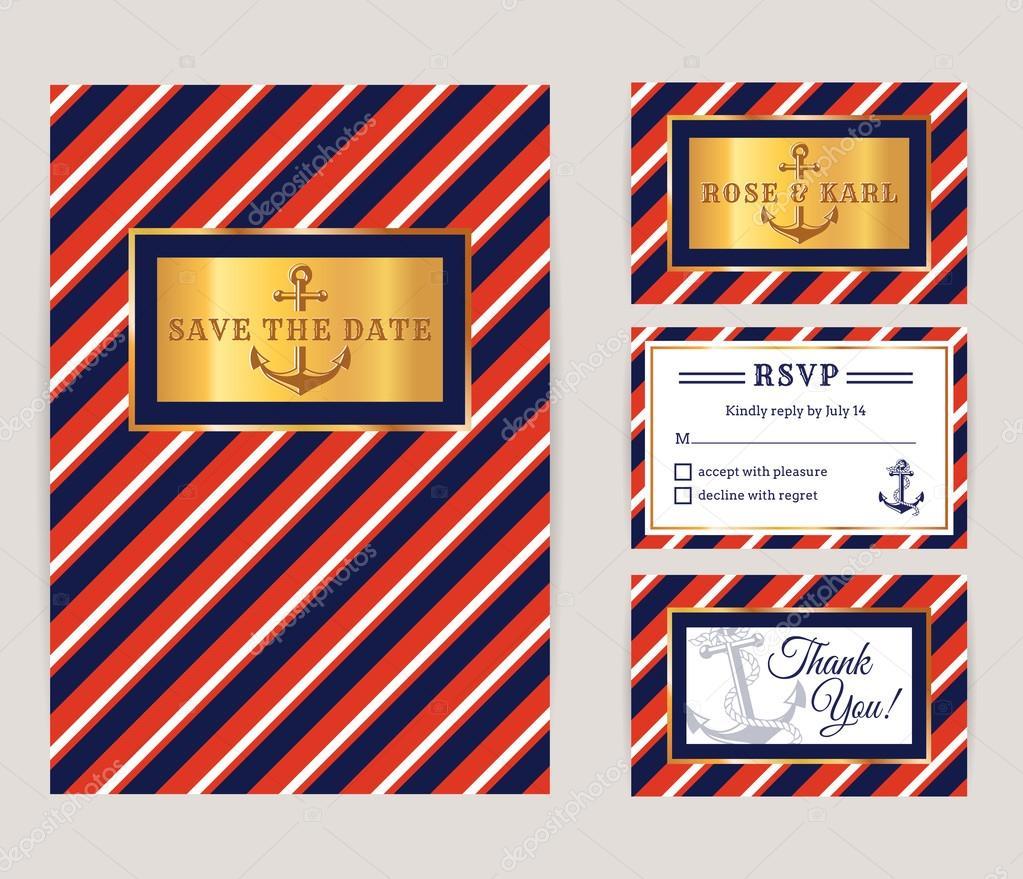 Nautical wedding invitations. — Stock Vector © Rainledy #115560966