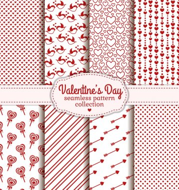 Happy Valentine's Day! Set of love and romantic backgrounds. Collection of seamless patterns with white and red colors. Vector illustration. stock vector