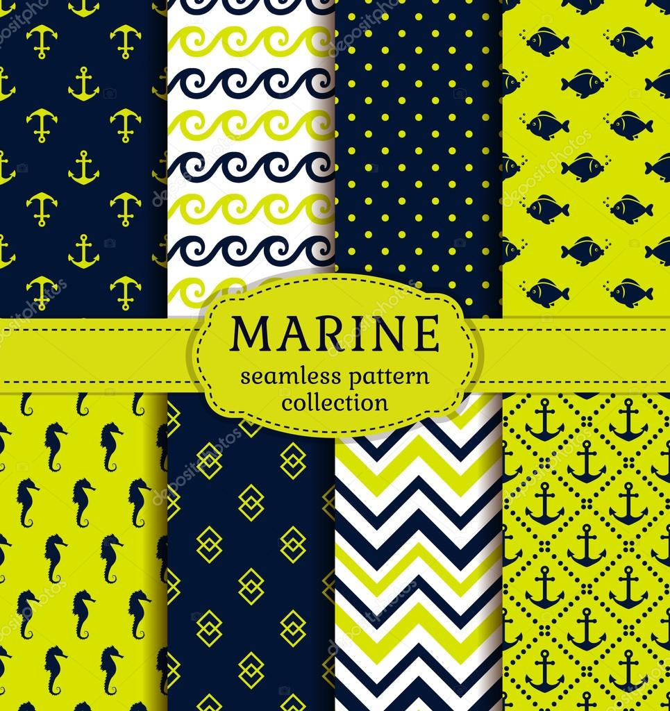 Sea and nautical patterns set.