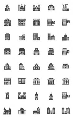 City buildings vector icons set, modern solid symbol collection, filled style pictogram pack. Signs, logo illustration. Set includes icons as hospital, police department, school, bank, court house icon