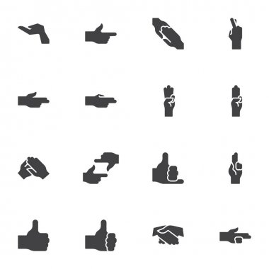 Hand gestures vector icons set, modern solid symbol collection, filled style pictogram pack. Signs, logo illustration. Set includes icons as index, thumb up, three finger up, framing hands, handshake icon