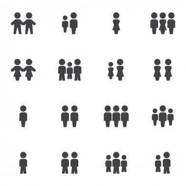 Crowd of people vector icons set, people group modern solid symbol collection, filled style pictogram pack. Signs, logo illustration. Set includes icons as family, teamwork, friends, man and woman icon